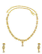 Floral Design Gold Finish Diamond Necklace