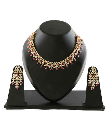 Pink Colour Gold Finish Diamond Necklace For Fancy