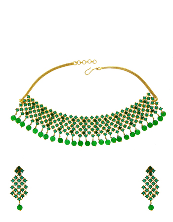 Green Colour Gold Finish Diamond Jewellery Necklace