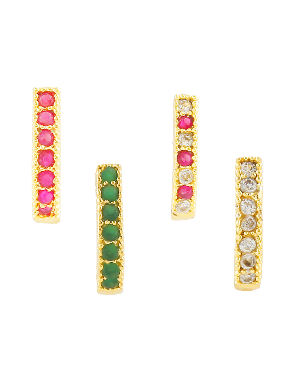 Gold Finish Multi Colour Diamond Nose Stud For Girls Fancy