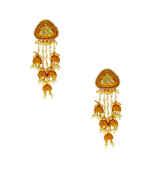 Orange Colour Gold Finish Moti Styled Long Earrings