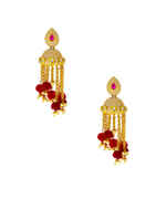 Pink Colour Gold Finish Kundan Earring Fancy For Girls