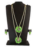 Green Colour Designer Floral Jewellery Set Styled With Moti Fancy Long Wedding Jewellery