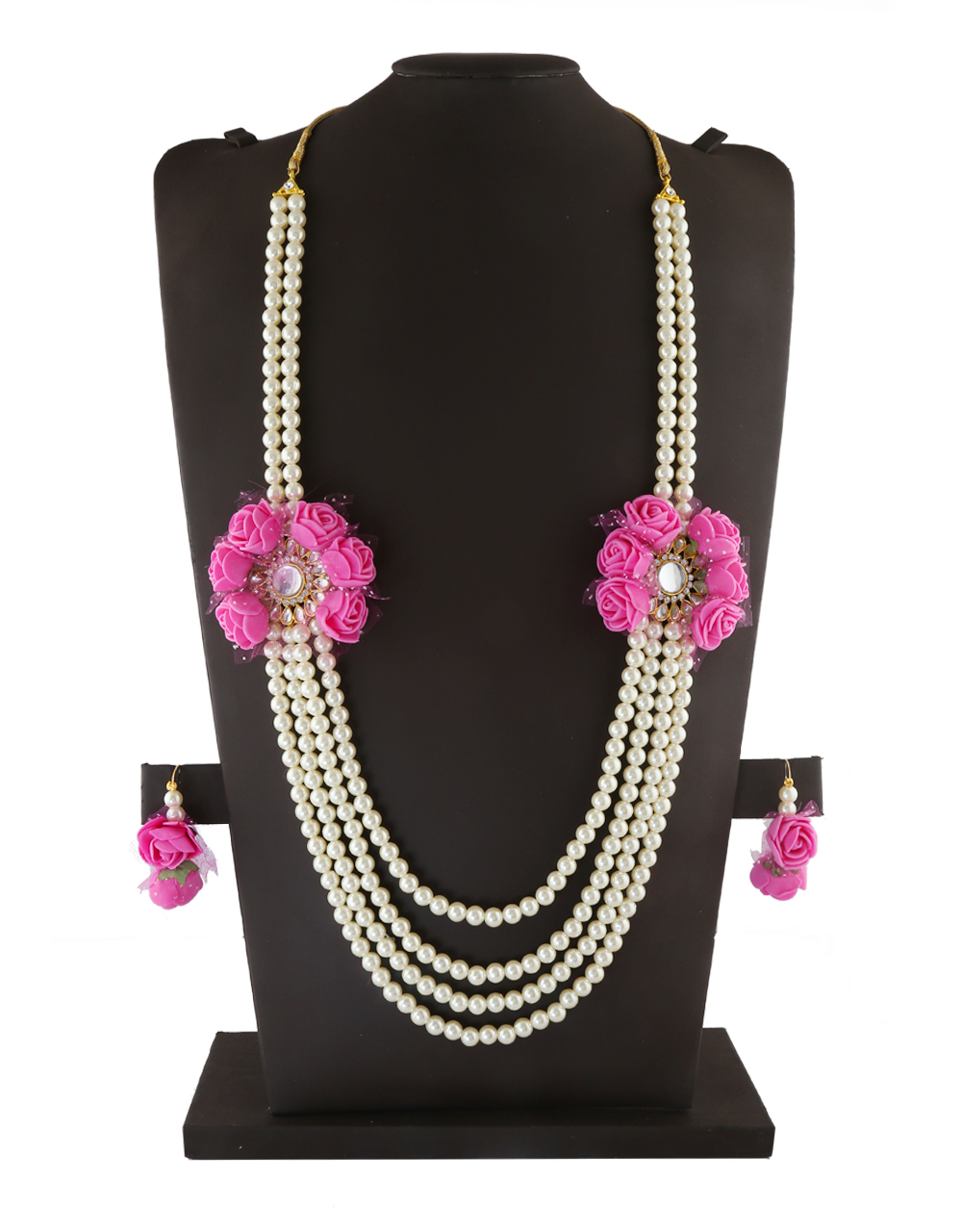 Pink Colour Fancy Flower Jewellery For Dulhan