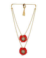 Red Colour Layered Moti Flower Jewellery Styled With Pearls Beads Haldi Jewellery