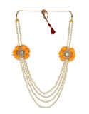 Fancy Orange Colour Moti Flower Necklace Jewellery