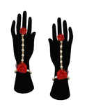 Red Colour Flower Jewellery Set For Mehandi Ceremony Necklace