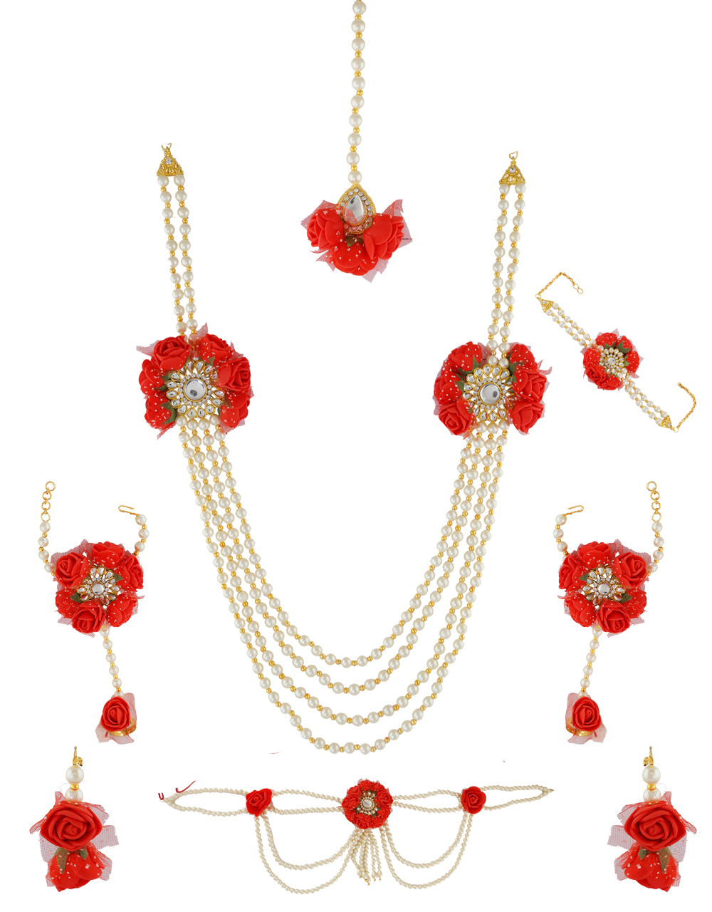Red Colour Fancy Flower Necklace Styled With Moti Beads Long Flower Jewellery