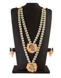 Orange Colour Pearls Styled Flower Jewellery For Haldi