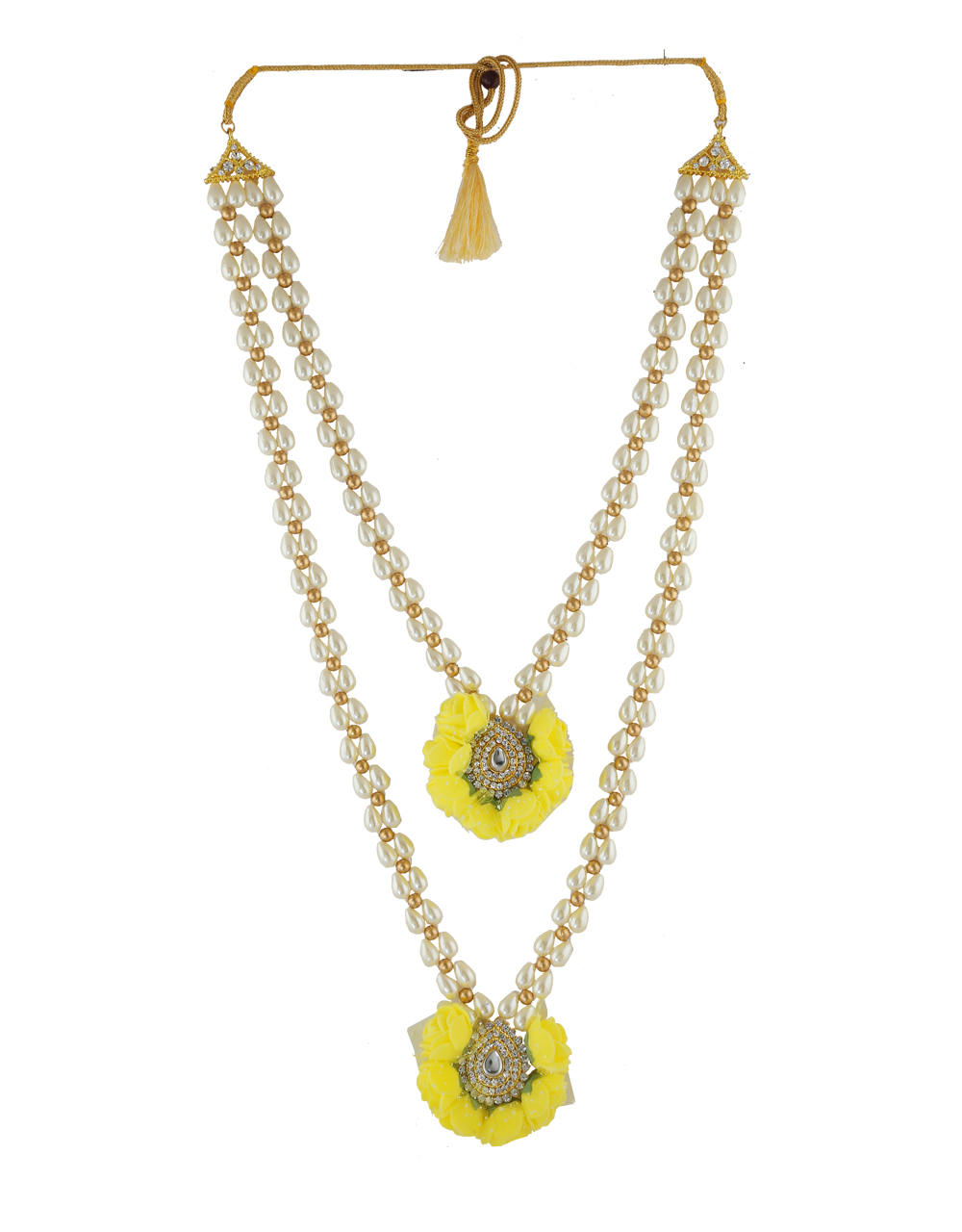 Yellow Colour Fancy Moti Styled Flower Jewellery Necklace For Haldi Ceremony