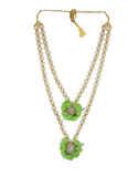 Green Colour Gold Finish Fancy Flower Jewellery Fancy