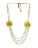 Yellow Colour Gold Finish Studded With Stones Flower Necklace Jewellery