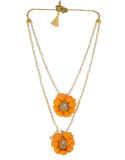 Orange Colour Simple Flower Jewellery Studded With Stones Moti Jewellery