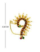 Gold Finish Peacock Design Moti Styled Nath