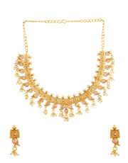 Gold Finish Traditional Necklace Styled With Pearls Beads Necklace Jewellery