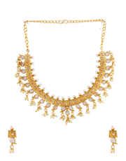 Antique Gold Finish Fancy Necklace Studded With Stones Jewellery