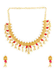 Red Colour Gold Finish Short Fancy Necklace
