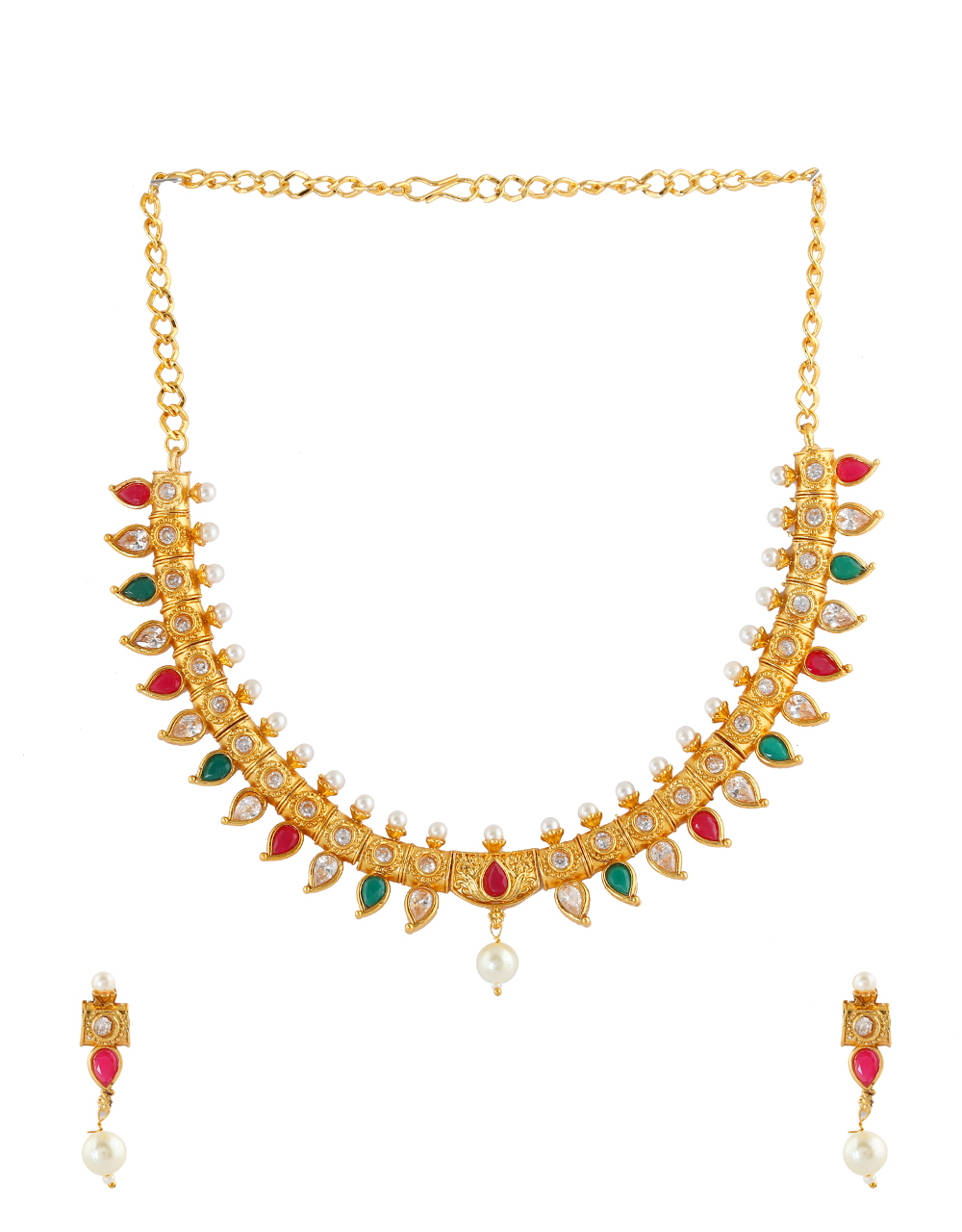 Multi Colour Gold Finish Styled With Moti Beads Necklace