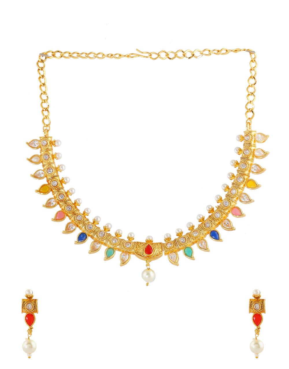 Fancy Gold Finish Multi Colour Necklace Jewellery