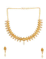 Designer Gold Finish Necklace Styled With Pearls Beads Necklace