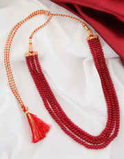 Red Colour Cristal Mala For Party Wear