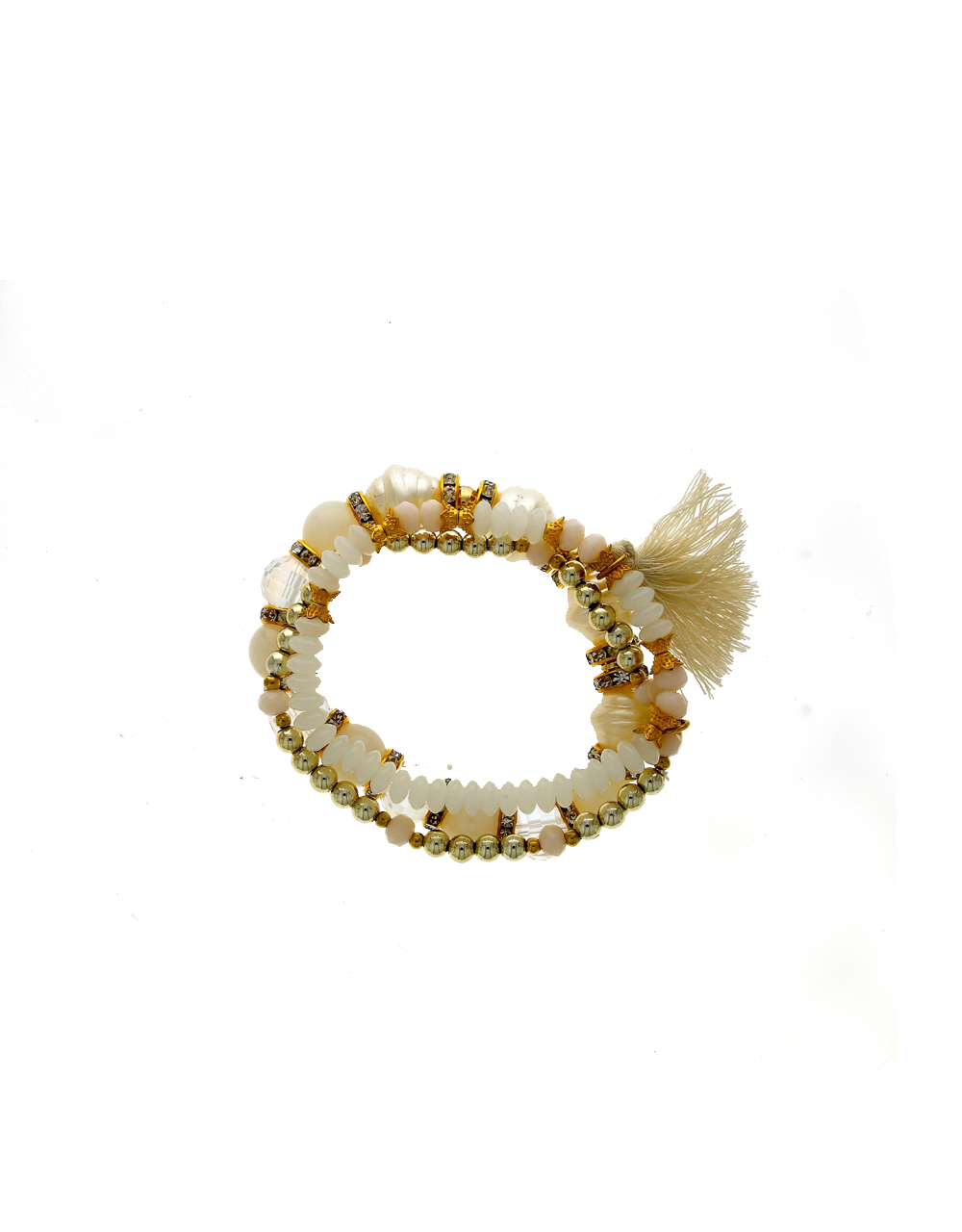 Anuradha Art White Colour Styled with Woven Pearl Beads Classy Hand Bracelet//Kada for Women//Girls