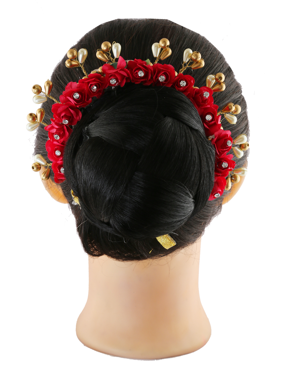 Red Colour Hair Gajra Styled With Pearls Beads Hair Jewellery