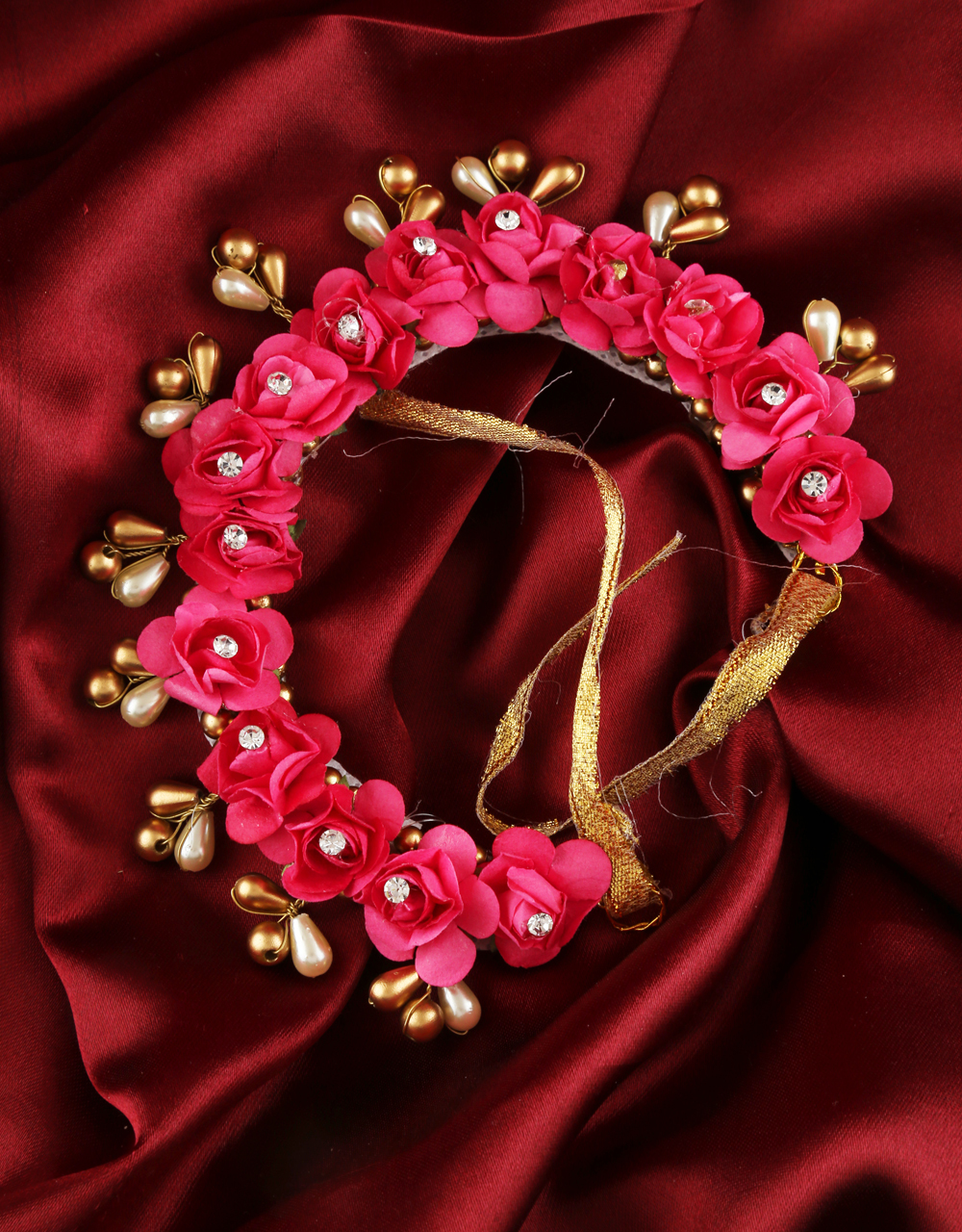 Pink Colour Hair Jewellery Gajra For Fancy