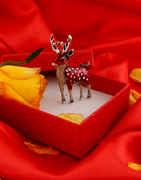 Maroon Colour Silver Finish Fancy Deer Brooch