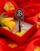 Grey Colour Silver Finish Brooch For Girls Trendy