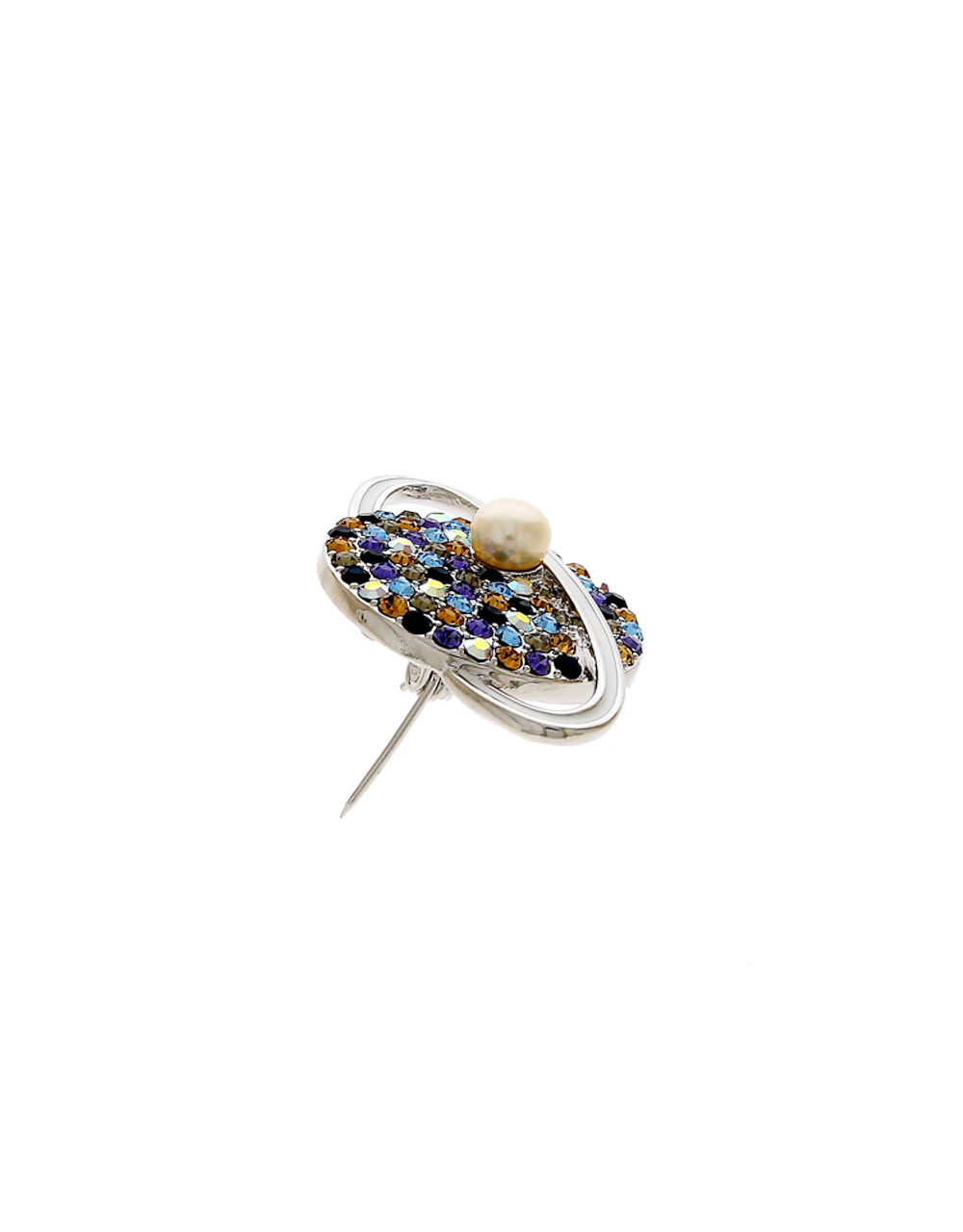 Silver Finish Earth Styled Brooch