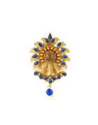 Blue Colour Gold Finish Floral Design Fancy Sari Pin