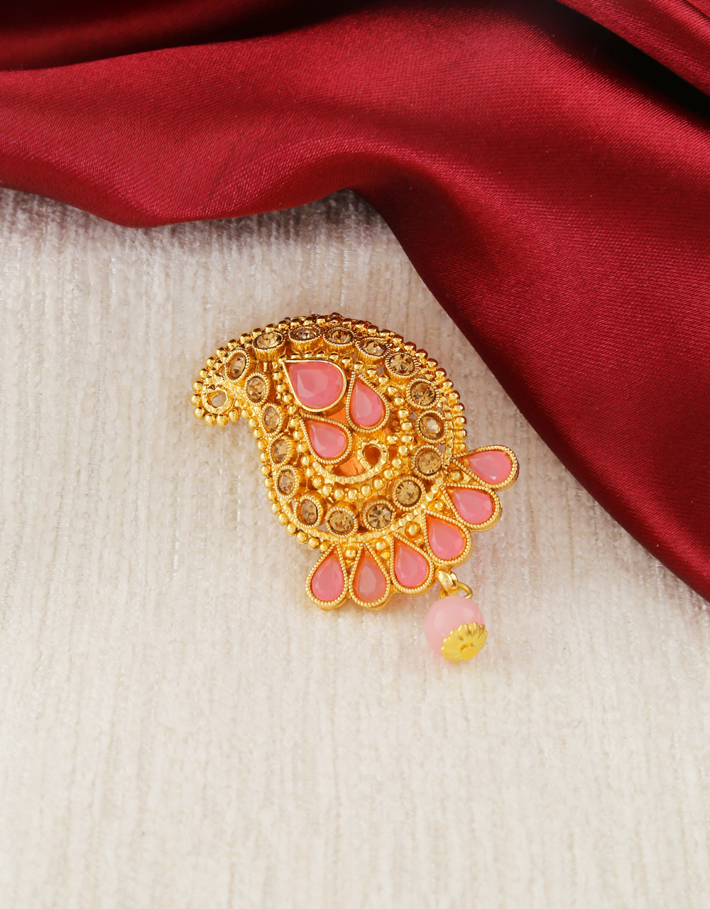 Pink Colour Antique Gold Finish Traditional Saree Pin