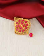 Red Colour Antique Gold Finish Brooch Saree Pin