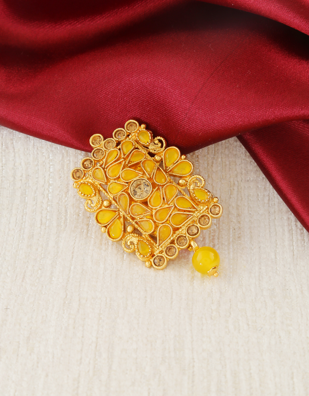 Yellow Colour Antique Gold Finish Saree Pin