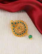 Green Colour Antique Gold Finish Saree Pin