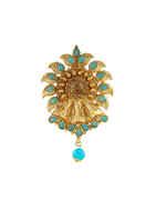 Turquiose Colour Matte Gold Finish Saree Pin