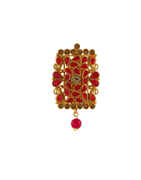 Red Colour Antique Gold Finish Saree Pin