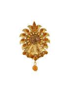 Orange Colour Antique Gold Finish Brooch Pin