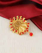 Red Colour Gold Finish Fancy Brooch Pin