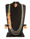 Orange Colour Moti Styled Flower Jewellery For Haldi Ceremony