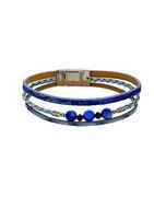Blue Colour Silver Finish Beads Styled Bracelets