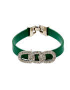 Green Colour Silver Finish American Diamond Bracelets