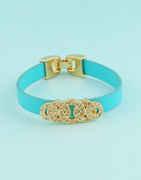 Turquiose Colour Gold Finish Hand Bracelets Adjustable