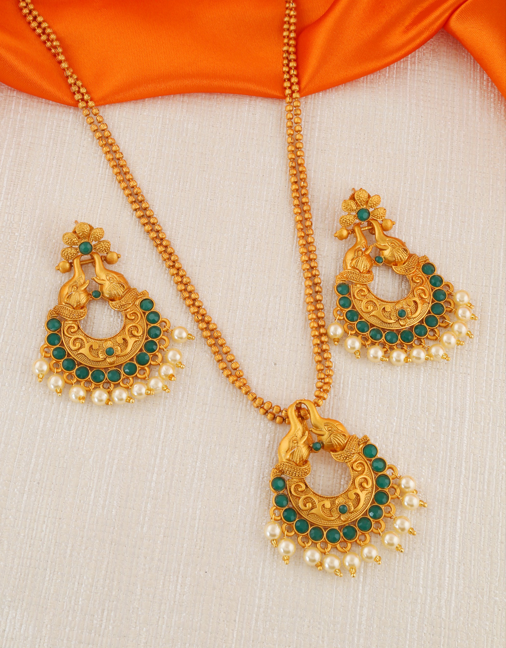 Green Colour Gold Finish Fancy Traditional Pendant Set