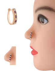 Purple Colour Rose Gold Finish Diamond Nose Stud