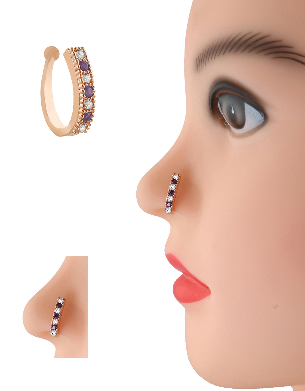 Purple Colour Rose Gold Finish Diamond Nose Stud