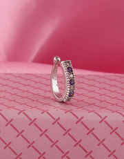Silver Finish Purple Colour Nose Ring