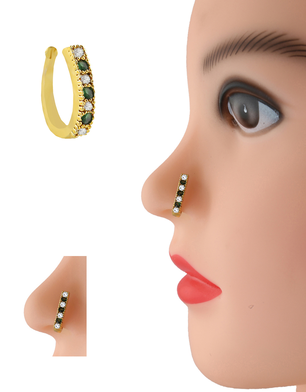 Green Colour Gold Finish Diamond Nose Stud Ring