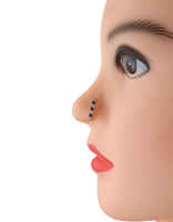 Rose Gold Finish Blue Colour Nose Stud